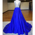 Eleagnt Royal Blue V Neck Inexpensive Long Prom Dresses, BG51524 - Bubble Gown