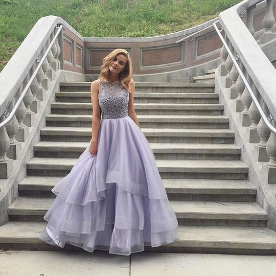 Lavender Beaded Top Inexpensive Evening Ball Gown Long Prom Dresses, BG51525 - Bubble Gown