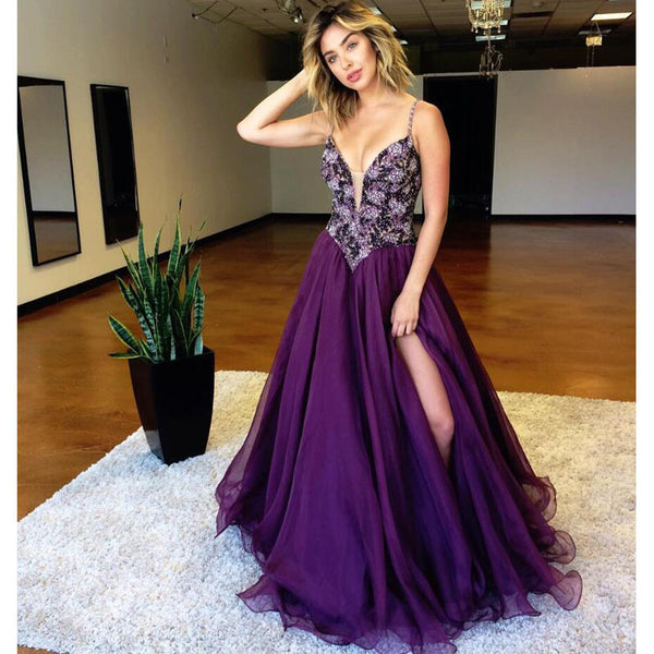 Purple V Necl Beaded Top Evening Ball Gown Long Prom Dresses, BG51526