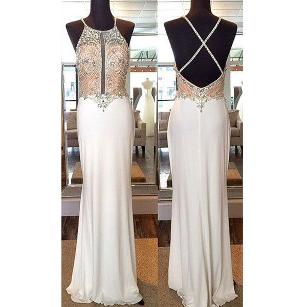 Popular Ivory Beaded Top Cross Open Back Sexy Long Prom Dresses, BG51535