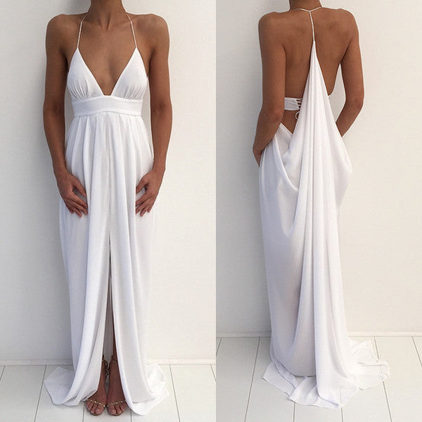 Beach Sexy Halter Unique Split White Cheap Simple Long Prom Dresses, BG51539