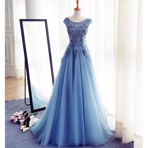 Blue Cap Sleeve Applique Tulle Popular Charming Long Prom Dresses, BG51540