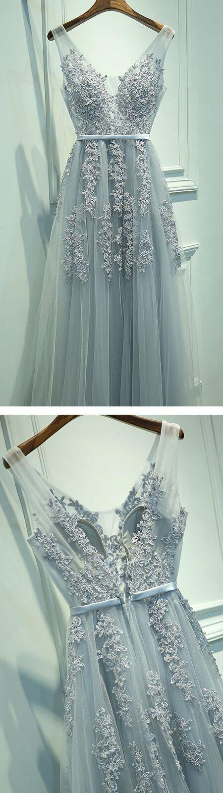 Popular Charming Applique Tulle Long Cheap Prom Dresses, BG51541