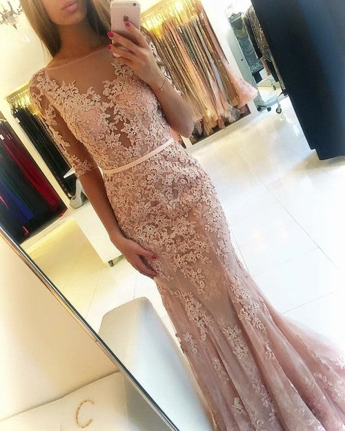 Champagne Mermaid Half Sleeves Applique Sexy Long Prom Dresses, BG51543 - Bubble Gown