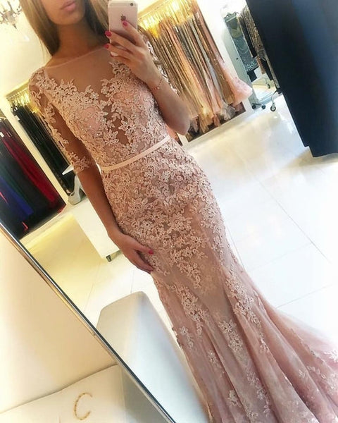 Champagne Mermaid Half Sleeves Applique Sexy Long Prom Dresses, BG51543
