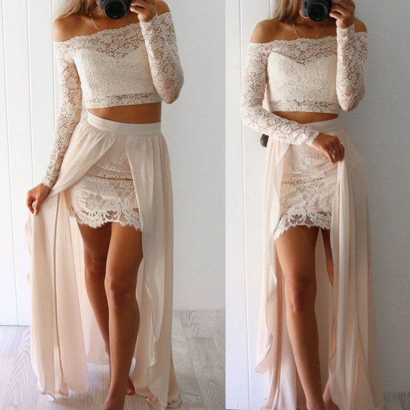 2 Pieces Long Sleeves Lace Cheap Long Beach Prom Dresses, BG51544