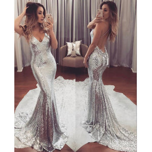 Silver Backless Cheap Sequin Sexy Sparkle Mermaid Long Prom Dresses, BG51547