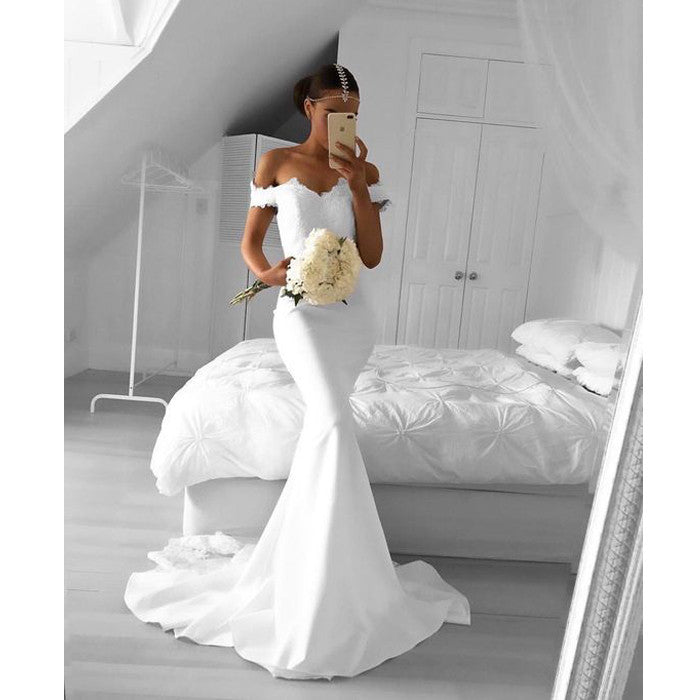 White Off Shoulder Mermaid Sexy Lace Top Long Bridesmaid Dresses, BG51548