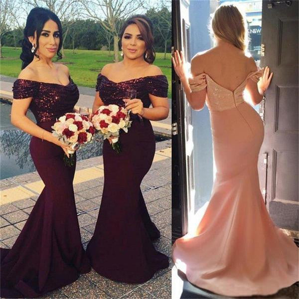 Off Shoulder Mermaid Sexy Sequin Top Long Bridesmaid Dresses, BG51549