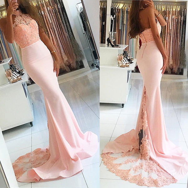 Blush Pink Halter Mermaid Sexy Lace Long Bridesmaid Dresses, BG51550 - Bubble Gown