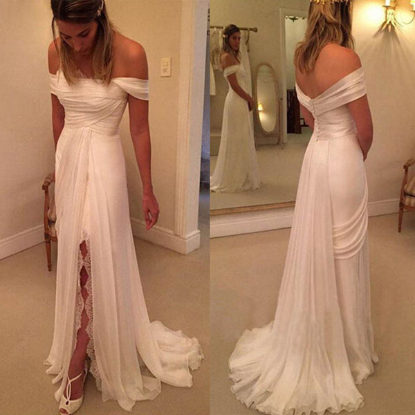 Off Shoulder Side Split Lace Simple Long Cheap Brides Wedding Dresses, BG51551