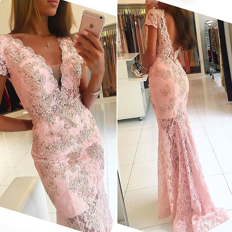 Unique Short Sleeves Mermaid Lace V Neck Long Prom Dress, BG51553