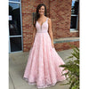 Pink Lace V Neck Applique Long Pretty Cheap Prom Dress, BG51554
