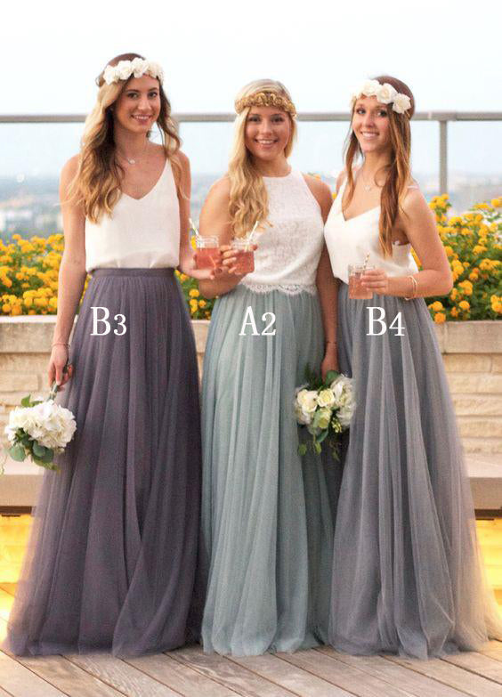 Beautiful Mismatched Long Wedding Party Bridesmaid Dresses, BG51555