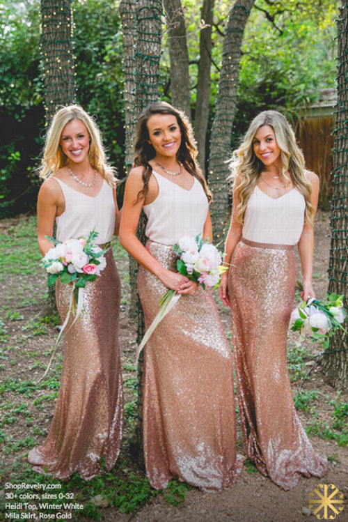 White Top Rose Gold Seuin Long Wedding Bridesmaid Dresses, BG51556