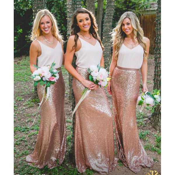 2e906885799 White Top Rose Gold Seuin Long Wedding Bridesmaid Dresses
