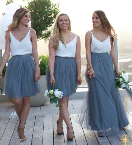 Long/Short Cheap Tulle Inexpensive Wedding Party Bridesmaid Dresses, BG51557