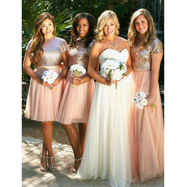 2 Pieces Short Sleeves Seuin Top Long/Short Tulle Wedding Bridesmaid Dresses, BG51559