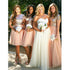 2 Pieces Short Sleeves Seuin Top Long/Short Tulle Wedding Bridesmaid Dresses, BG51559 - Bubble Gown