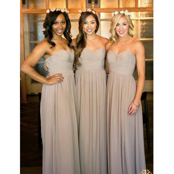 Simple Cheap Chiffon Sweetheart Floor Length Bridesmaid Dresses, BG51560