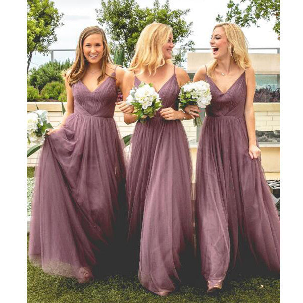 Tulle V Neck Affordable Floor Length Bridesmaid