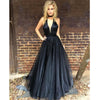 Black Deep V Neck Sexy Simple Cheap Long Party Prom Dresses, BG51564