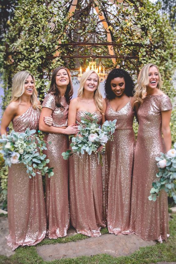 Mismatched Rose Gold Sequin Charming Long Bridesmaid Dresses, BG51567