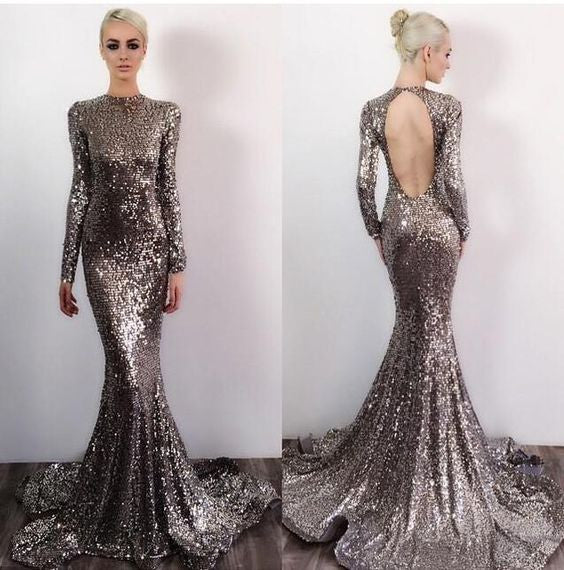 Open Back Long Sleeves Sequin Sexy Sparkle Mermaid Long Prom Dresses, BG51570