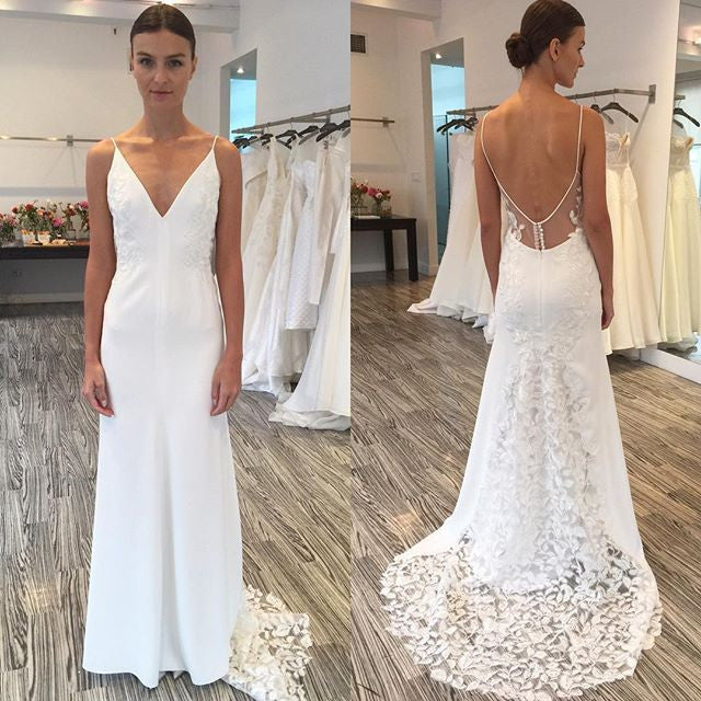 Unique Lace Open Back V Neck Affordable Online Long Wedding Dresses, BG51572