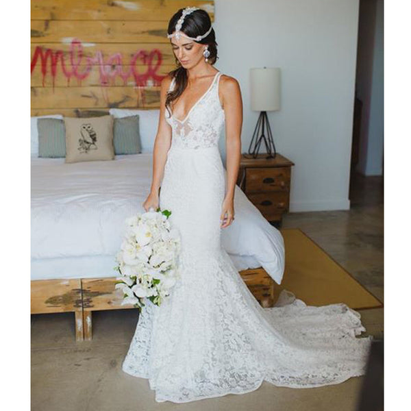 Affordable Lace V Neck Online Elegant Long Wedding Dresses, BG51575 - Bubble Gown