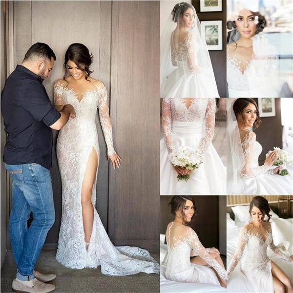 Long Sleeves Sexy Side Slit Lace Mermaid Long Wedding Dresses, BG51578