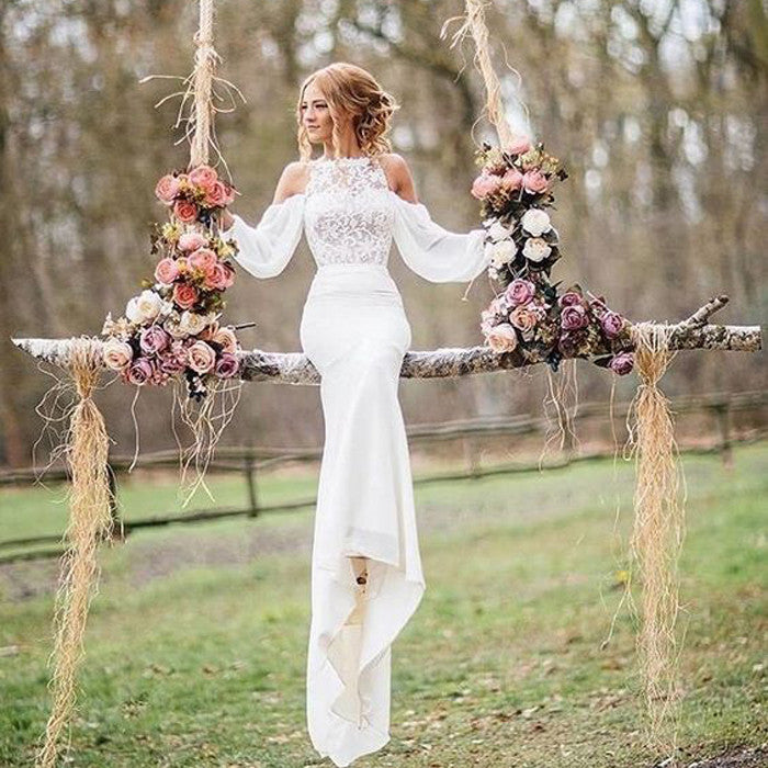 Affordable Unique Design Lace Top Long Sleeves Mermaid Long Wedding Dress, BG51581