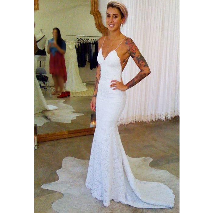 Lace Mermaid Wedding Gown With Straps: Spaghetti Strap Lace Sexy Mermaid Cheap Long Wedding