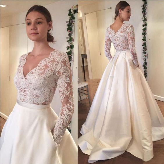 Long Sleeves Lace V Neck Elegant Inexpensive Long Wedding Dresses ...