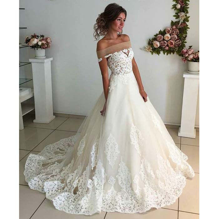 Unique Wedding Dress: Affordable Lace Unique Off The Shoulder Online Charming