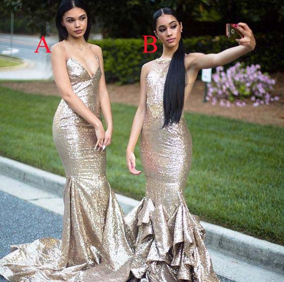 Gorgeous Sequin Sexy Mermaid Mismatched Long Bridesmaid Dresses, BG51586