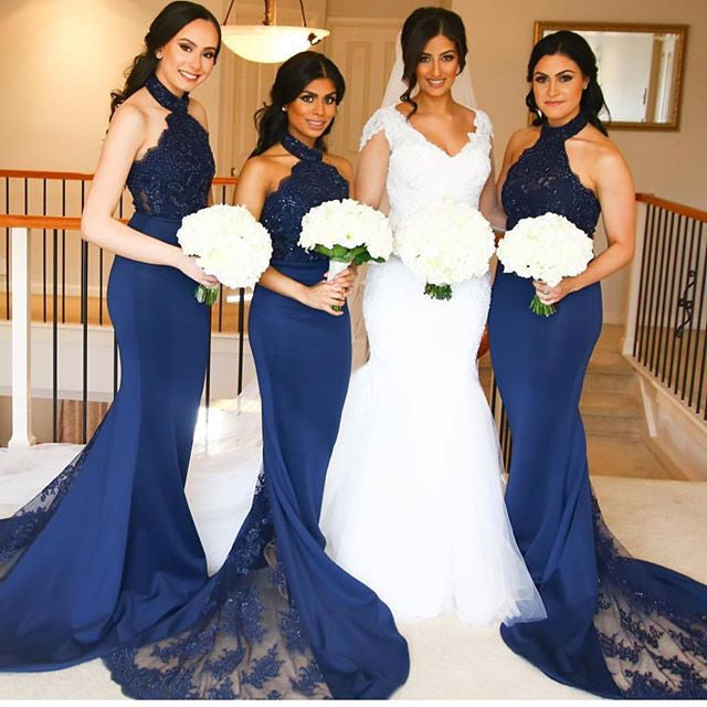 Navy Blue Halter Mermaid Sexy Lace Long Bridesmaid Dresses, BG51587