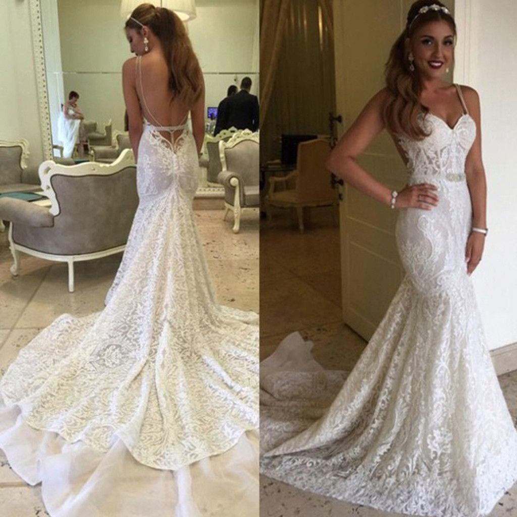 Charming Open Back Sexy Unique Lace Long Wedding Dresses
