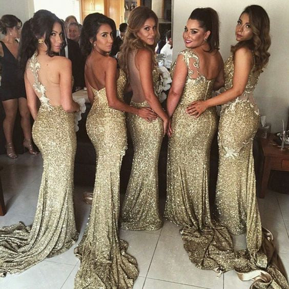 Sexy Mermaid Mismatched Side Split Sequin Long Wedding Bridesmaid Dresses, BG51594