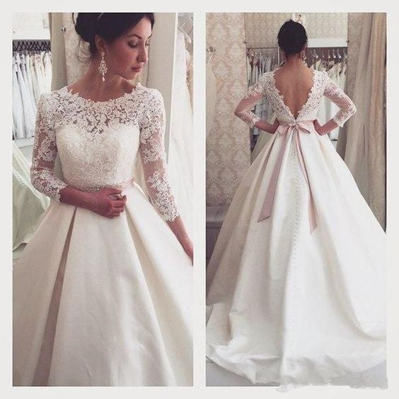 Long Sleeves Lace V Back Cheap Bridal Long Wedding Dresses, BG51597 - Bubble Gown