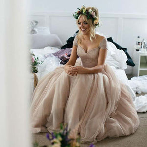 Cap Sleeves Lace Top Tulle Charming Long Bridesmaid Prom Dresses, BG51598