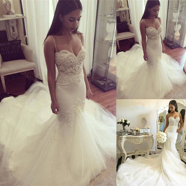 Gorgeous Mermaid Spaghetti Strap Charming Long Wedding Dress, BG51609