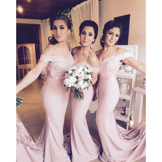 Blush Pink Off the Shoulder Mermaid Charming Long Bridesmaid Dresses, BG51612