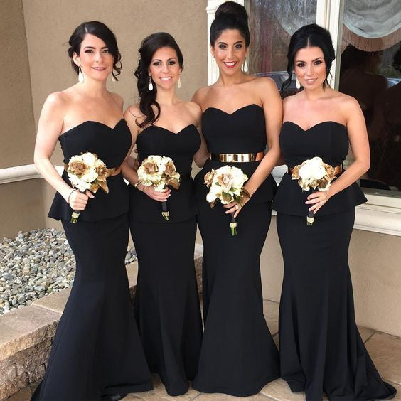 Black Sweetheart Elegant Mermaid Affordable Long Bridesmaid Dresses, BG51613 - Bubble Gown