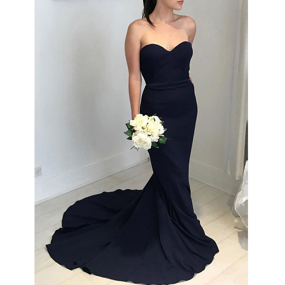 Affordable Popular Black Sweetheart Elegant Mermaid Long Bridesmaid Dresses, BG51615