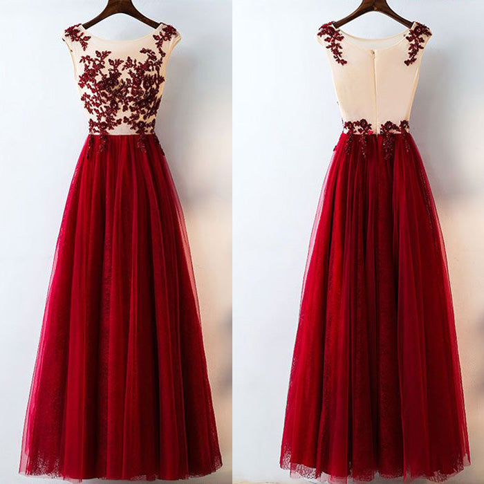 Formal Tulle Applique Inexpensive Elegant Long Evening Prom Dresses, BG51623