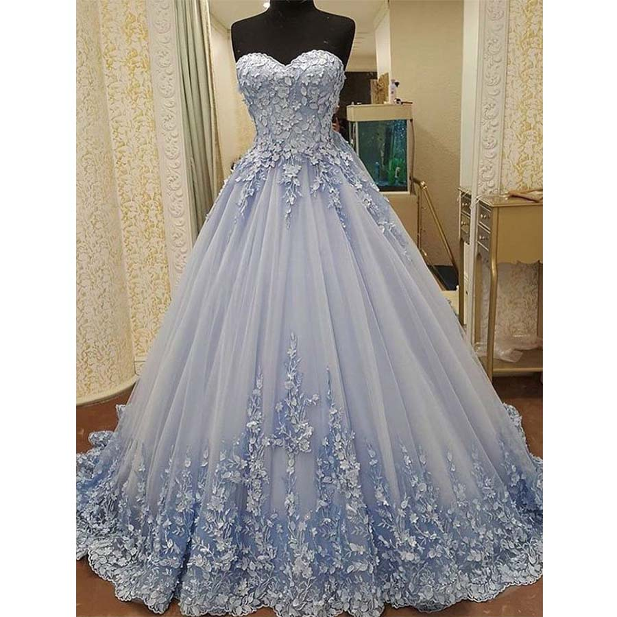 Elegant Sweetheart Tulle Applique Long Evening Prom Dresses, BG51627