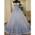 Elegant Sweetheart Tulle Applique Long Evening Prom Dresses, BG51627 - Bubble Gown