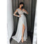 Long Sleeves V Neck Side Split Sexy Silver Long Prom Dresses, BG51629