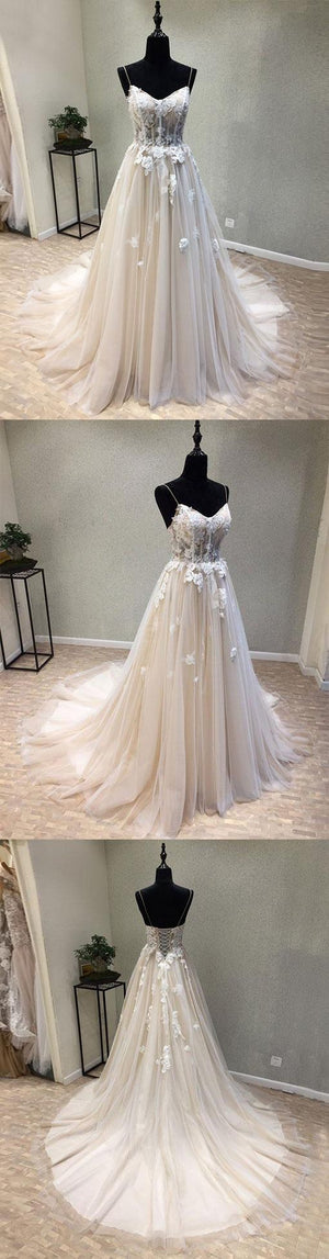 Spaghetti Strap Elegant Tulle Applique Lace Up Back Long Prom Dresses, BG51630
